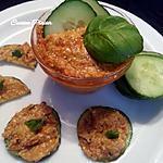 recette Houmous de graines de sésame et de chanvre sur tranches de concombre