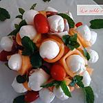 recette Bouquet de melon mozarella et jambon de Parme