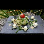 recette Fleurs de concombre, tomate cerise, boursin en vinaigrette