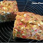 recette Cake salé aux poivrons, tomates séchées, lardons fumés et feta