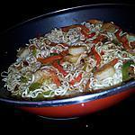 recette nouilles chinoises sautées aux crevette et poivrons