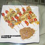 recette Brochettes de poulet,poivrons,ananas,tomates cerises