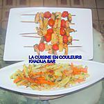 recette Brochettes de crevettes-ananas-tomates cerises/jardiniére de légumes