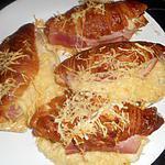 recette Croissants garnis jambon,béchamel,émmental