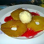recette ananas  flambée et coulis de fruits rouge