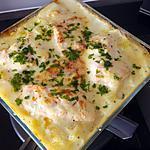 recette Saumon frais sur ces pommes de terre à la béchamel