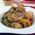 recette RIZ DE KONJAC avec crevettes/lieu noir et poêlée asiatique au COOKEO