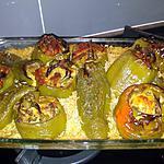 recette Gratin de riz et poivrons verts  farcis  aux épices... façon Lauranou