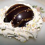 recette Dôme au chocolat noir et son duo de fruits au caramel beurre salé
