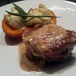 recette Tournedos sauce fromage aux herbes et mini potimarron aux asperges blanches gratiné
