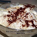 recette Petits suisses à la crème de poires et cacao amer.