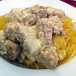 recette COURGE SPAGHETTI avec filet de poulet