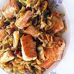 recette Wok de chou pommé et saumon frais