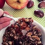 recette Crumble châtaignes, chocolat aux pommes