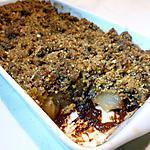 recette Crumble noisettes, poires et chocolat.
