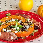 recette Salade de potimarron aux jeunes pousses, jambon, noix et fêta
