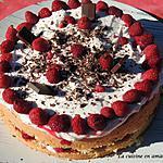 recette Génoise garnie framboises et mascarpone