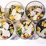 recette THERMOMIX : Verrines Courgettes à l'ail - Tomates Confites et Parmesan