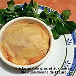 recette Bricks au foie gras et aux poires