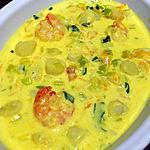 recette Cassolettes crevettes et Saint Jaques sur sauce épicée aux poireaux