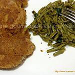 recette Escalope de veau panées et haricots verts à l'ail