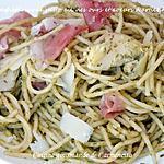 recette Spaghetti au pesto ail des ours et cœurs d'artichaut