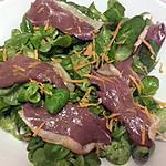 recette Salade mâche-magret de canard fumé