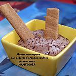 recette Mousse mascarpone aux écorces d'oranges confites et cacao amer.