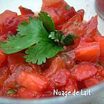 recette TARTARE de FRAISES et TOMATES à la CORIANDRE