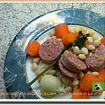 recette Saucisson à la pistache, à cuire, haricots coco et carottes