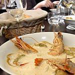 recette Bouquet de crevettes Obsiblue déclinées en bisque, grillées et pochées (recette apprise au cours de l'Atelier Guy Martin)