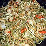 recette Spaghetti tricolor aux pétoncles