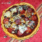 recette Pizza chorizo, champignons scamorza fumee