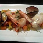 recette Queue de Lotte et fruits de mer sur lit de légumes, façon Blanquette.