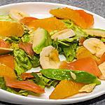 recette Salade de truite fumée à l'avocat, aux bananes et aux oranges
