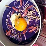 recette Velouté de chou rouge, oeuf poché et lardons de volaille au thermomix
