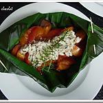 recette **Fruits d' été  caramélisés au balsamique parfumé au thym et son crèmeux au pralin en feuille de bananier**