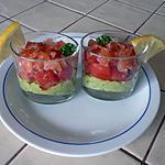 recette verrine légère avocat, tomates, saumon fumé