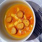 recette Velouté potiron, tomates cerises,knackis et dés de jambon