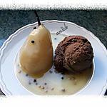 recette poires aux 2 poivres et glace au chocolat