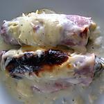 recette Gratin d'endives au maroilles et jambon braisé