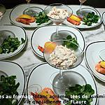 recette Verrines au fromage blanc agrémentées de surimi et saumon