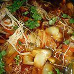 recette Soupe de vermicelles de riz aux légumes et au poulet (thailande)