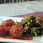 recette Boulettes de viande à la sauce tomate et haricots verts poivrons