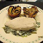 recette Filet de poulet citronné au fromage frais sur lit d'épinards
