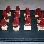 recette mini brochettes de  gouda  magret et framboise