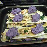 recette Millefeuille de poulet au chataignes et sa purée de vitelotte