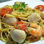recette Spaghetti aux noix de St Jacques et crevettes