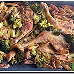 recette Cuisses de poulet, pommes de terre, ail et romarin et une touche de vert, le brocoli