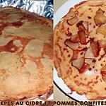 recette CREPES AU CIDRE FOURREES A LA POMME CONFITE